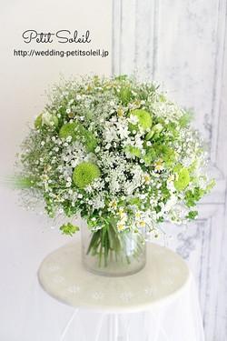 グリーンの花と小花のブーケ