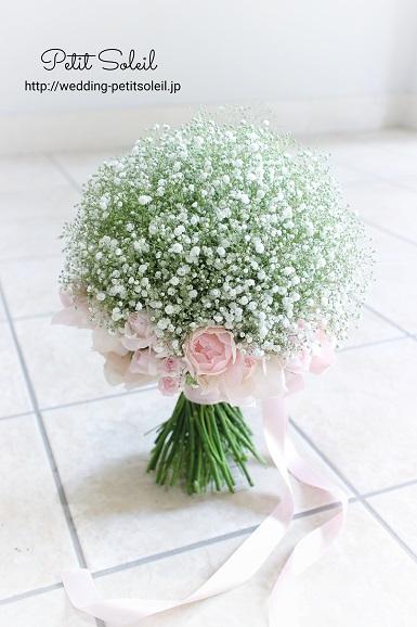 ピンクバラとかすみ草のブーケ