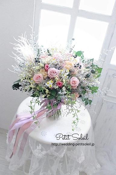 バラと小花のクラッチブーケ(プリザーブドフラワー)