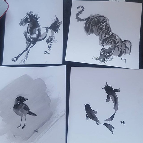 #nofilter #art #ink #tiger #horse #fish