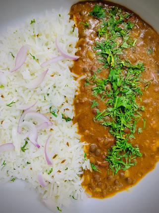 Black dal and Rice