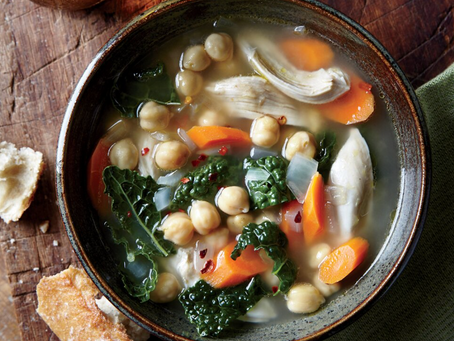 Onion, Kale, Chickpea and Chicken Soup