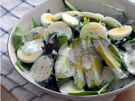 Mixed Green Salad with Egg, Avocado, and Creamy Lemon-Dill Dressing
