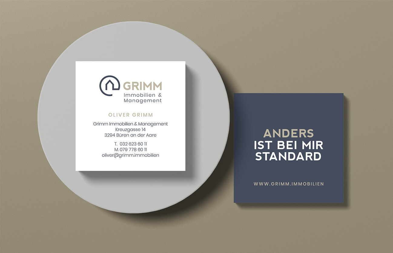 Visitenkarten, Branding Grimm Immobilien Schweiz, Designstudio Lohrer, Grafikdesign, Webdesign, Werbung, Werbeagentur, Nürnberg, Fürth, Corporate Design, Branding, Markenentwicklung, Markenstrategie, Logodesign, Verpackungsdesign, Geschäftsausstattung, Flyer, Plakate, Anzeigen, Design für Print und digitale Medien