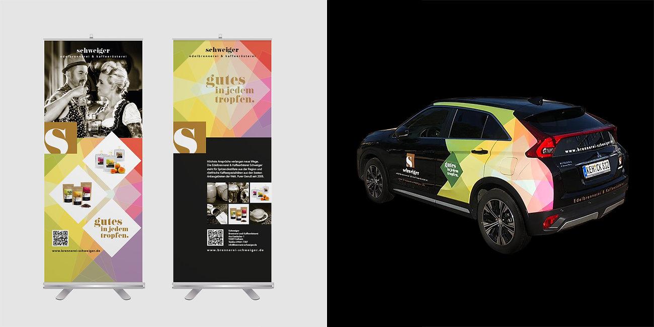 Rollups, Autobeklebung, Branding Brennerei Schweiger, Designstudio Lohrer, Grafikdesign, Webdesign, Werbung, Werbeagentur, Nürnberg, Fürth, Corporate Design, Branding, Markenentwicklung, Markenstrategie, Logodesign, Verpackungsdesign, Geschäftsausstattung, Flyer, Plakate, Anzeigen, Design für Print und digitale Medien