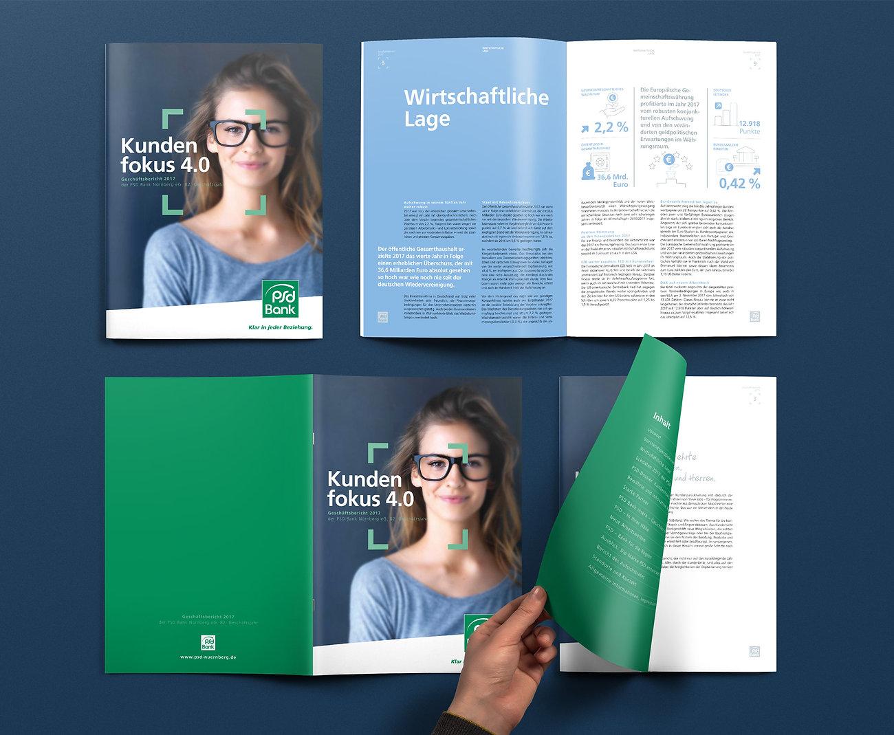 Geschäftsbericht, Annual Report, PSD Bank Nürnberg eG, Designstudio Lohrer, Grafikdesign, Webdesign, Werbung, Werbeagentur, Nürnberg, Fürth, Corporate Design, Branding, Markenentwicklung, Markenstrategie, Logodesign, Verpackungsdesign, Geschäftsausstattung, Flyer, Plakate, Anzeigen, Design für Print und digitale Medien