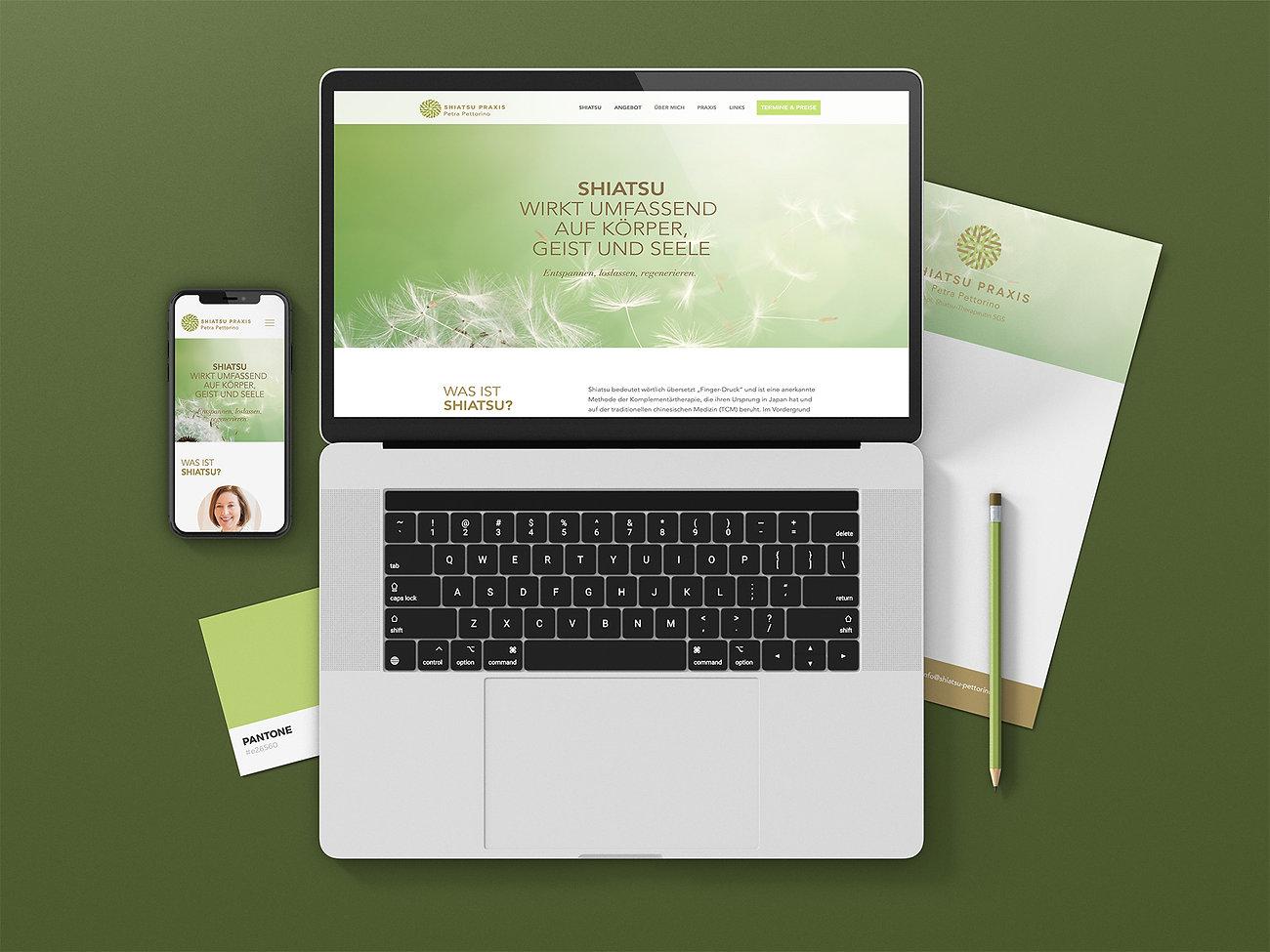 Webdesign, Branding Shiatsu Praxis Pettorino Schweiz, Designstudio Lohrer, Grafikdesign, Webdesign, Werbung, Werbeagentur, Nürnberg, Fürth, Corporate Design, Branding, Markenentwicklung, Markenstrategie, Logodesign, Verpackungsdesign, Geschäftsausstattung, Flyer, Plakate, Anzeigen, Design für Print und digitale Medien