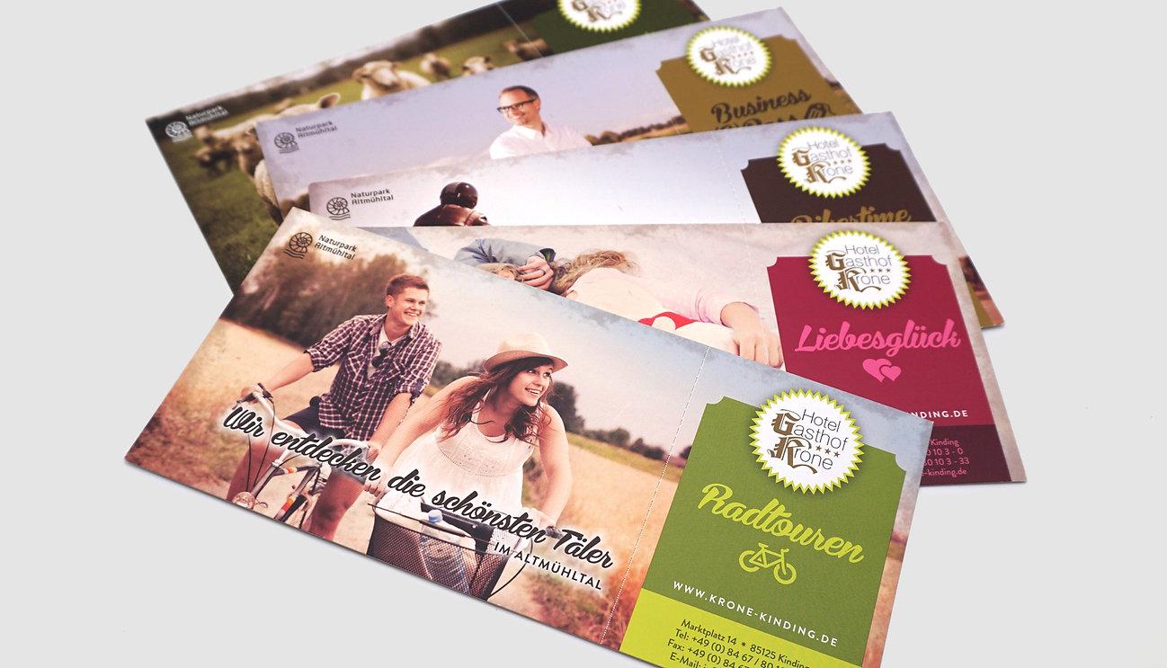 Flyer, Branding Gasthof Krone Kinding, Designstudio Lohrer, Grafikdesign, Webdesign, Werbung, Werbeagentur, Nürnberg, Fürth, Corporate Design, Branding, Markenentwicklung, Markenstrategie, Logodesign, Verpackungsdesign, Geschäftsausstattung, Flyer, Plakate, Anzeigen, Design für Print und digitale Medien
