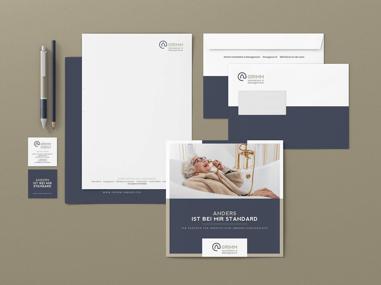Branding Grimm Immobilien Schweiz, Designstudio Lohrer, Grafikdesign, Webdesign, Werbung, Werbeagentur, Nürnberg, Fürth, Corporate Design, Branding, Markenentwicklung, Markenstrategie, Logodesign, Verpackungsdesign, Geschäftsausstattung, Flyer, Plakate, Anzeigen, Design für Print und digitale Medien