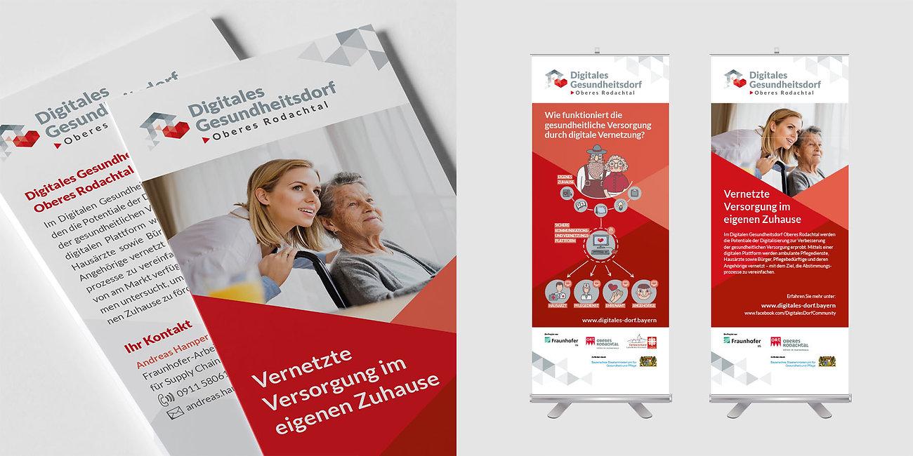 Flyer, Rollup, Branding Digitales Dorf Bayern, Designstudio Lohrer, Grafikdesign, Webdesign, Werbung, Werbeagentur, Nürnberg, Fürth, Corporate Design, Branding, Markenentwicklung, Markenstrategie, Logodesign, Verpackungsdesign, Geschäftsausstattung, Flyer, Plakate, Anzeigen, Design für Print und digitale Medien