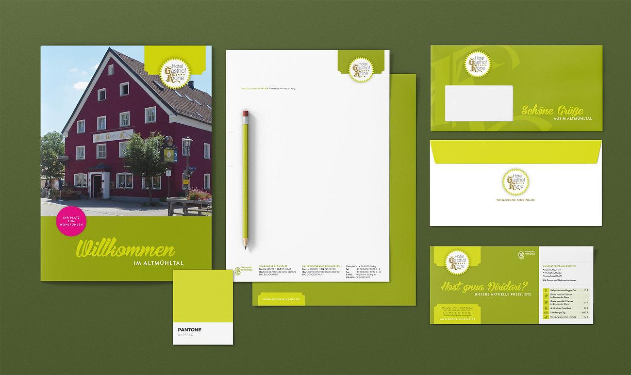 Branding Gasthof Krone Kinding, Designstudio Lohrer, Grafikdesign, Webdesign, Werbung, Werbeagentur, Nürnberg, Fürth, Corporate Design, Branding, Markenentwicklung, Markenstrategie, Logodesign, Verpackungsdesign, Geschäftsausstattung, Flyer, Plakate, Anzeigen, Design für Print und digitale Medien