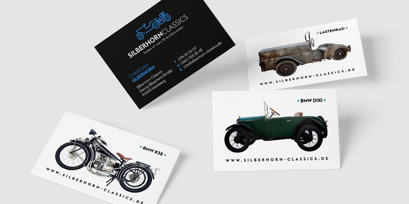 Visitenkarten, Branding Silberhorn Classics Nürnberg Fischbach, Designstudio Lohrer, Grafikdesign, Webdesign, Werbung, Werbeagentur, Nürnberg, Fürth, Corporate Design, Branding, Markenentwicklung, Markenstrategie, Logodesign, Verpackungsdesign, Geschäftsausstattung, Flyer, Plakate, Anzeigen, Design für Print und digitale Medien