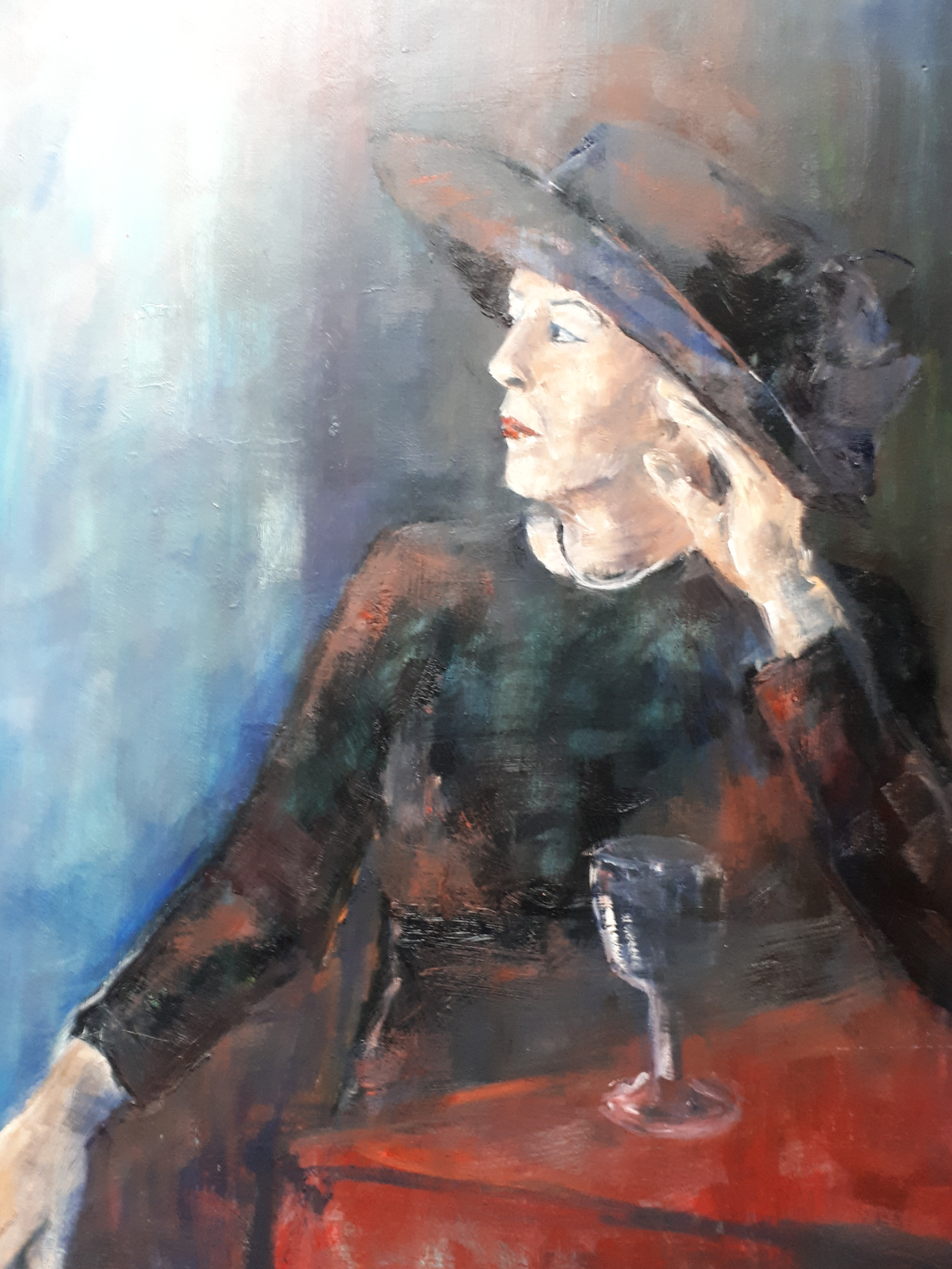 Lady with hat 60 x 80