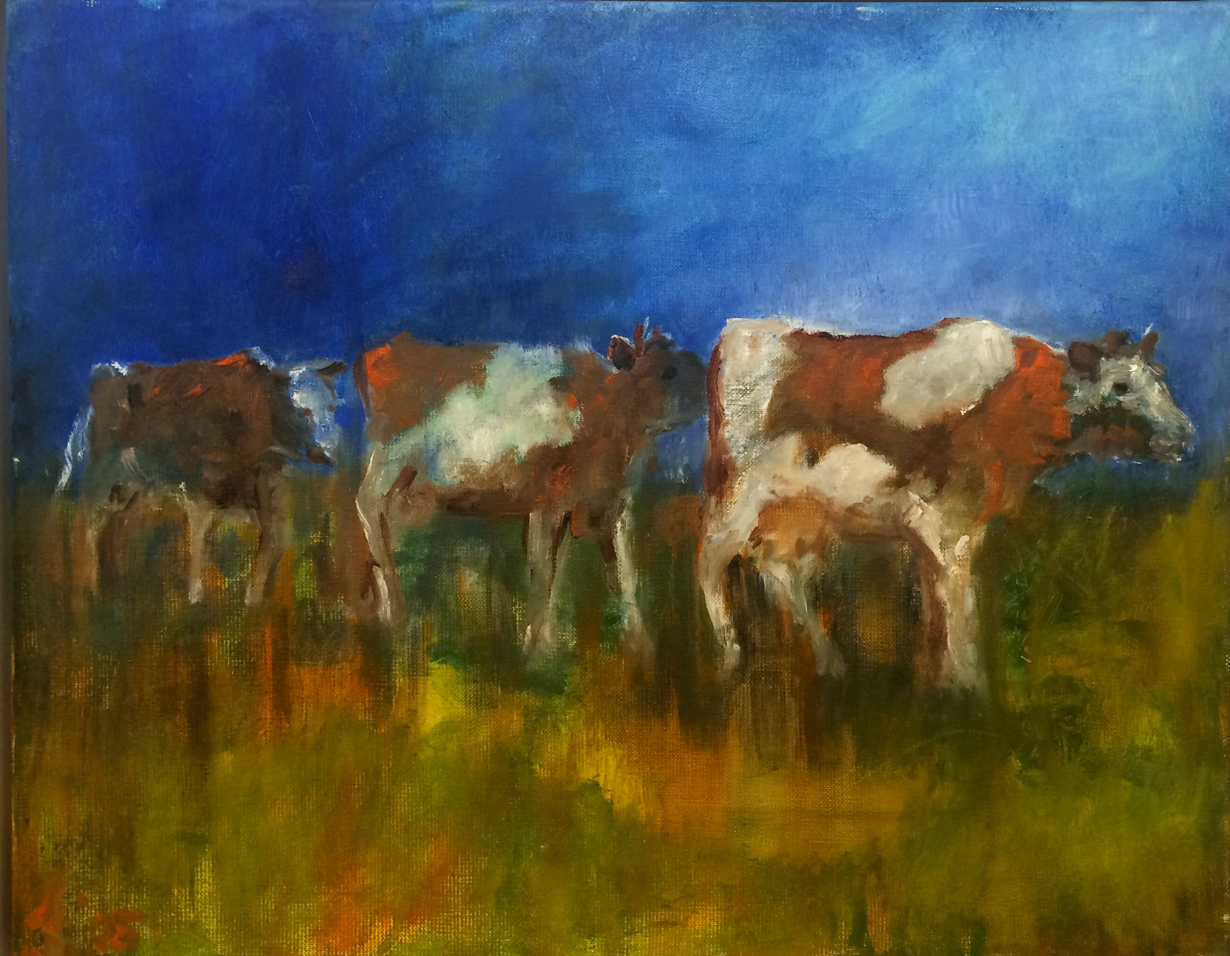 Walking cows in sunset 60 x 50