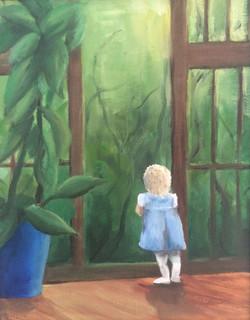 Little girl in green 25 x 35