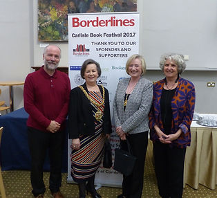 Neil Adam and Judy Turner after a performance in Carlisle Book Festival
