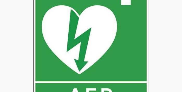 Skylt hjärtstartare A5