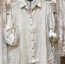 Taupe Linen Shirt Dress
