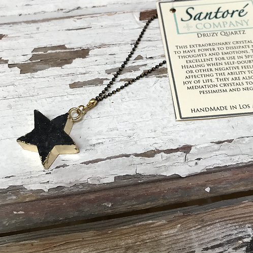 Druzy Quartz Star Necklace