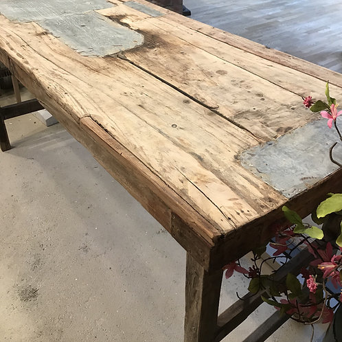 Reclaimed Wood and Metal Patch Table