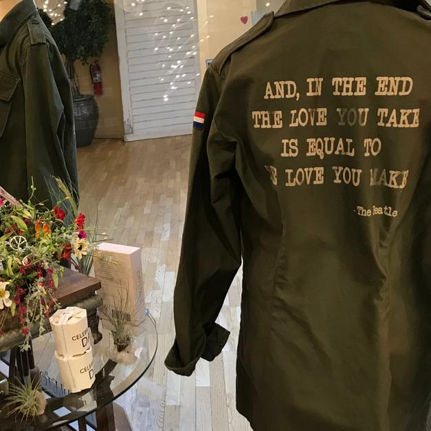 Vintage Military Jacket With Beatles' Lyrics