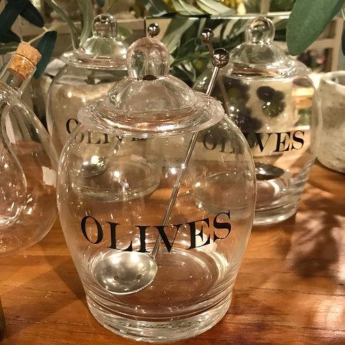 Glass Olives Jar