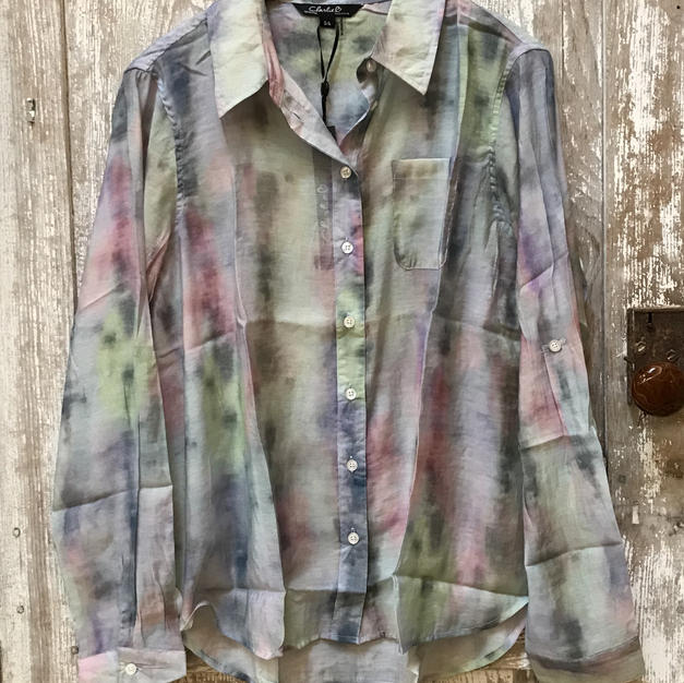Flowing Watercolor Button Down