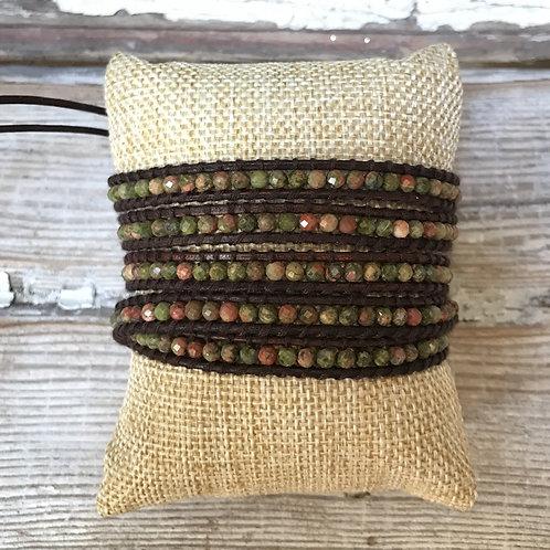 Moss and Terracotta Wrap Bracelet