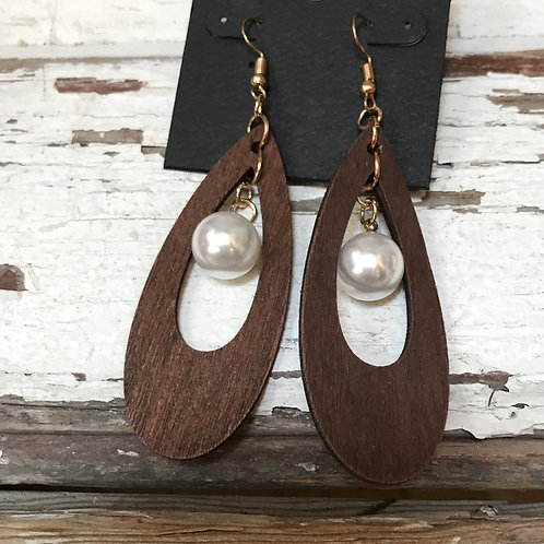 Pearl and Wood Earrings