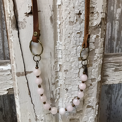Rose Quartz and Leather Necklace