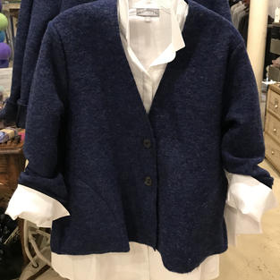Crisp White Button Down Tunic and Blue Felted Wool Cardigan