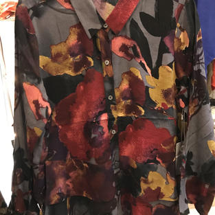 Fall Watercolor Crepe Button Front