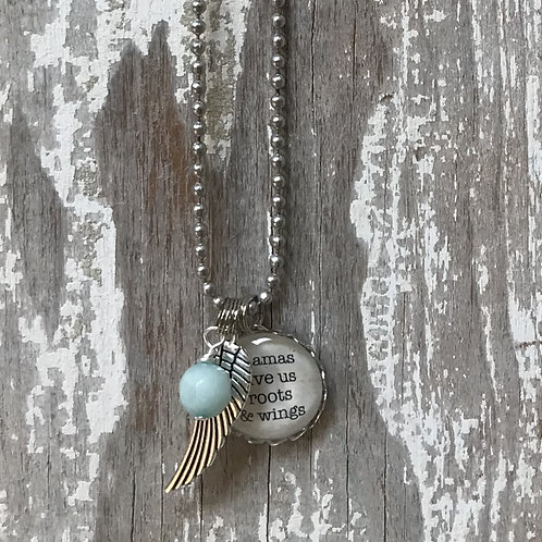 Mamas Give Us Roots and Wings Necklace
