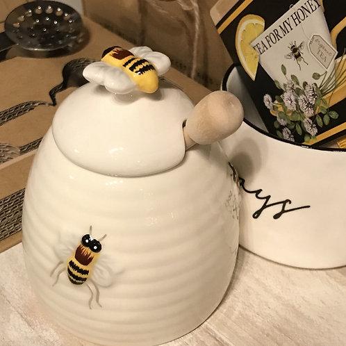 Honey Pot with Wooden Honey Swizzle