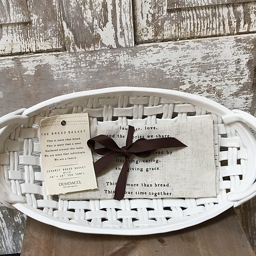 Woven Ceramic Bread Basket with Tea Towel