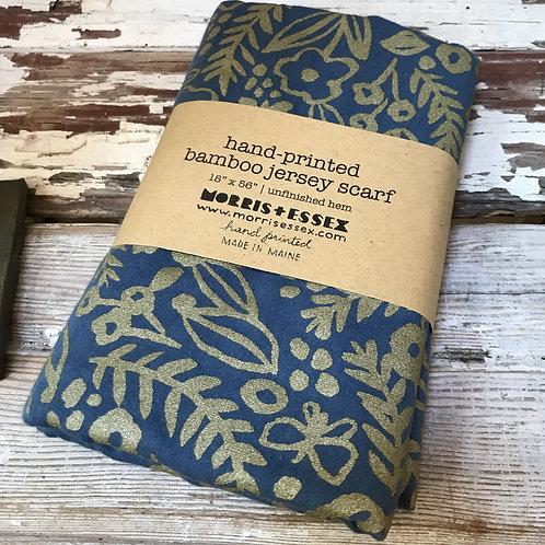 Blue Botanical Bamboo Jersey Scarf