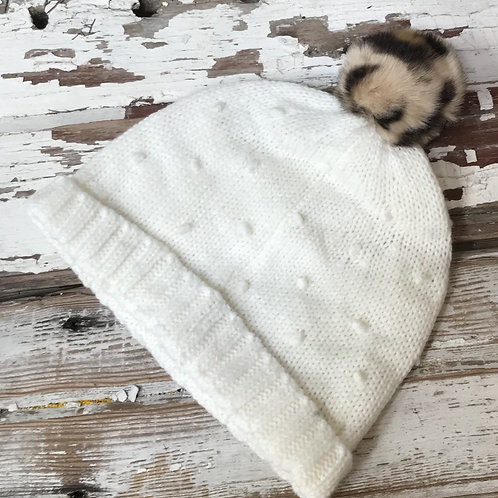 Toddler Hat with Leopard Pompon