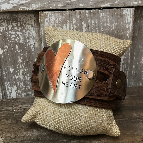 Follow Your Heart Leather Cuff