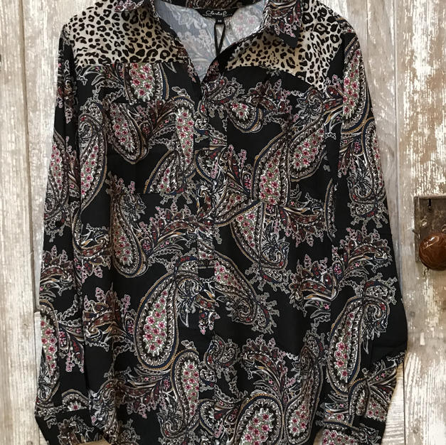 Mixed Pattern Crepe Button Down
