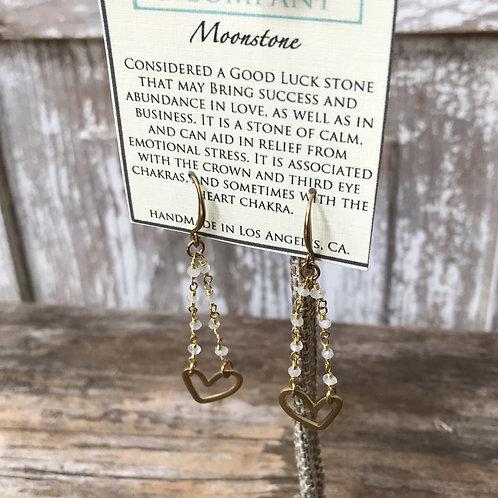 Open Heart Moonstone Earrings