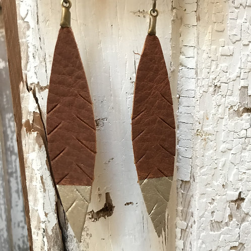 Silver Dipped Leather Feather Earrings