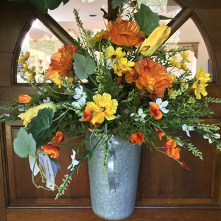 Poppies and Squash Blossoms in Handled Tin