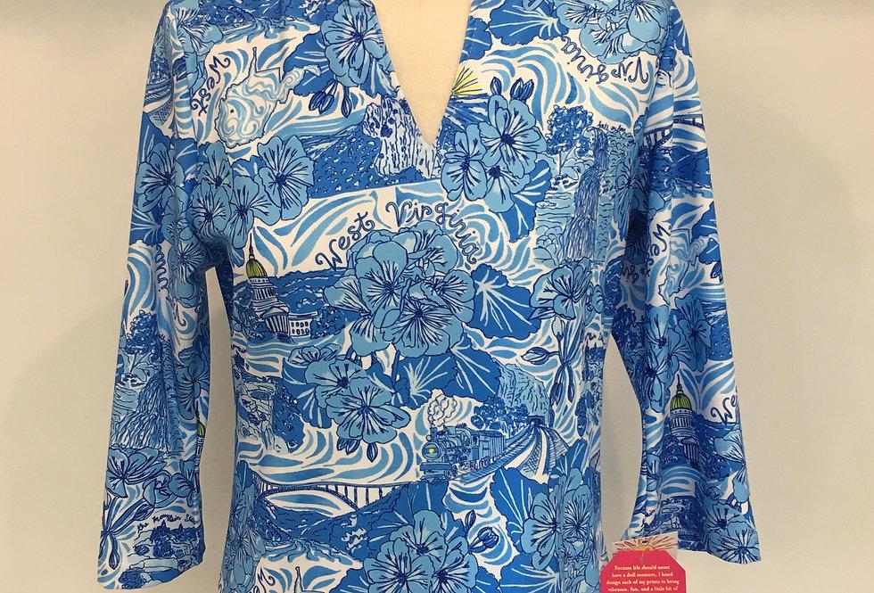 Teegan Tunic Top - Blue WV Custom Print
