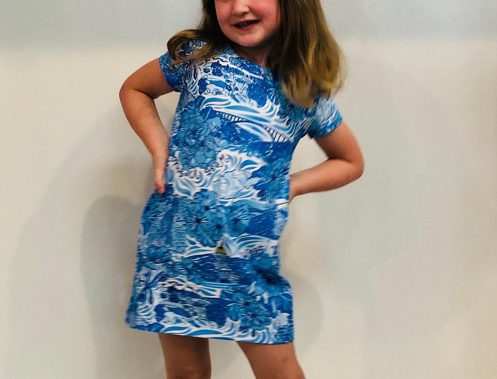 Little Sierra Girls Dress - Blue WV Custom Print