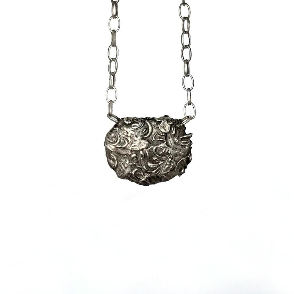 b7aa2f37924a7 Reversible Black Basalt Sculptured Necklace - Stoned Metal | selahgay