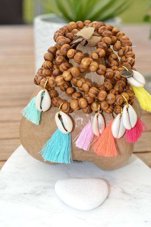 Bracelet bois avec coquillage - divers couleurs