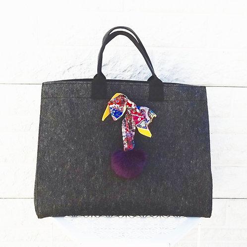 Feutre scarf - pompon violet