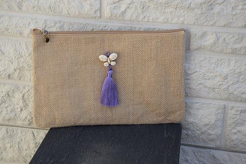 Pochette jute - violet