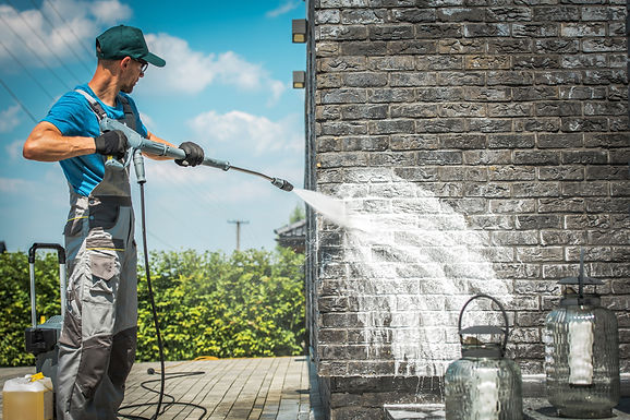 Brick House Wall Pressure Washing with S