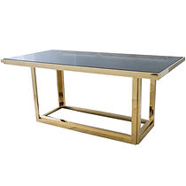 gatsby rectangular gold dining table wit